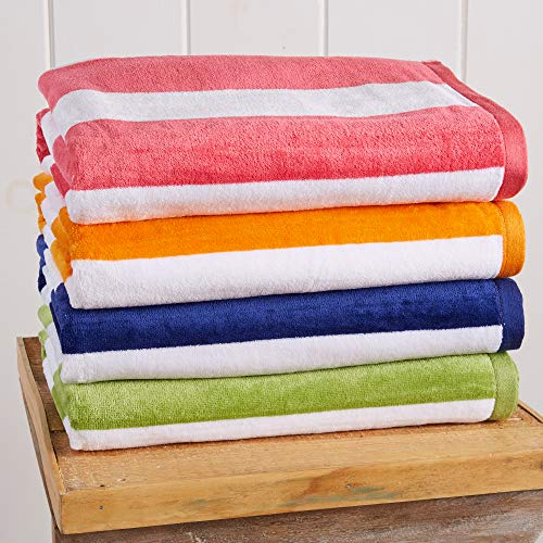 Great Bay Home 4-Pack 100% Cotton Plush Cabana Stripe Velour Beach Towel (30x60) Brand. (Multi-Color 1)