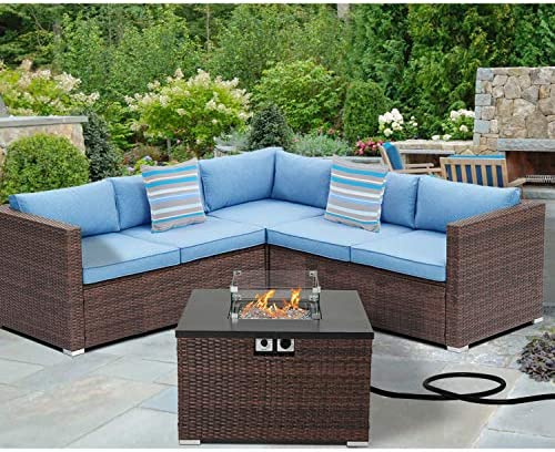 SUNBURY Outdoor 4-Piece Sectional Sofa w 32-inch Propane Fire Table