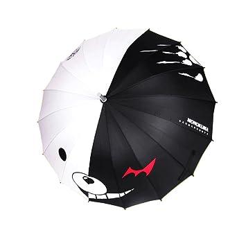 Negro y Blanco Oso recto mango de madera paraguas transparente y viajes paraguas