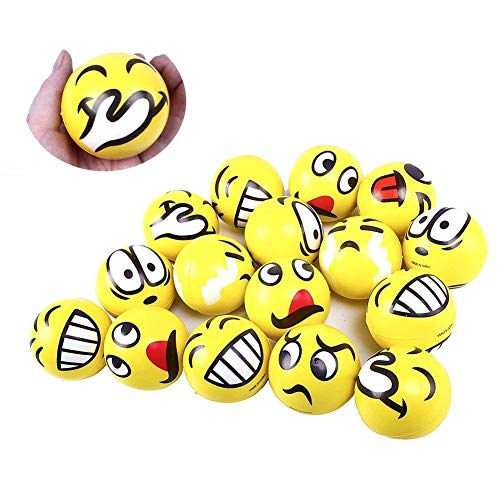 LovesTown Emoji Stress Balls,24 Pcs  Emoji Face Squeeze Balls for Hand Wrist Finger Exercise Stress Relief Therapy Squeeze