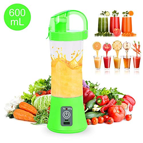 AOLVO Mini Blender,600ML Personal Smoothie Maker,Portable Juicer Cup Bottle Fruit Juice Mixer USB Rechargeable for Travel,Sports,Home,Office Outdoor,Perfect for Fruit,Milk Shake and Baby Food