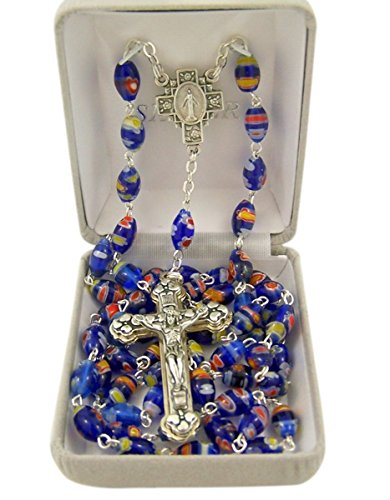 Catholic Blue Flower Glass Prayer Bead Rosary Necklace with Heart Detailed Crucifix, 31 Inch