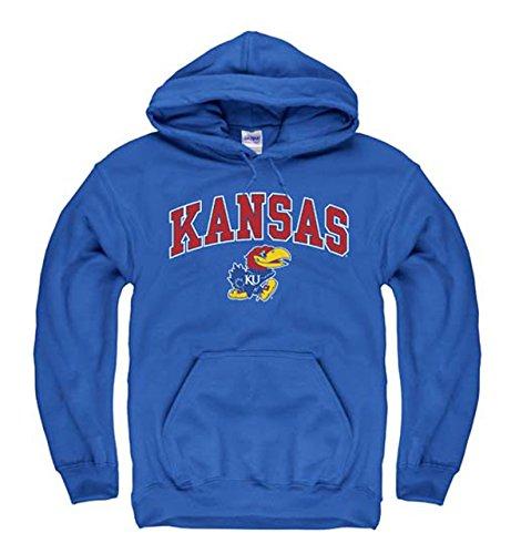 Campus Colors Kansas Jayhawks Adult Arch and Logo Hooded Sweatshirt - Royal, Medium