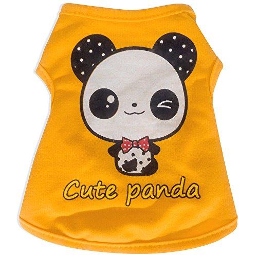 [ANSON (M) Fashion Pet Puppy Summer Shirt Small Dog Cat Pet Clothes Yellow Panda Vest T Shirt] (Pet Panda Costume)