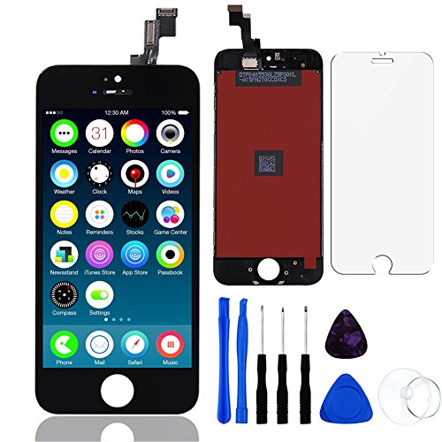 Lcd Repair Replacement (For iPhone SE LCD Display Touch Screen Digitizer Replacement with Repair Kit + Tempered Glass ( Black ))
