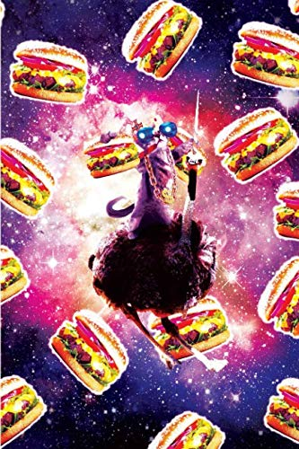 Thug Space Cat On Ostrich Unicorn - Burger Daily Weekly Planner