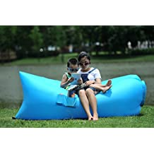 Homfu Inflatable lounger Sofa bags Air Sleeping Bag Bed Lounger Air Mattress Couch Hammock Nylon Waterproof Compression Sacks For Outdoor Camping Beach Hiking hangout Bag With Pockets and Security Loop Peg (Blue)