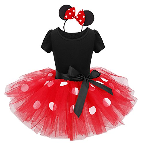 70's Dance Recital Costumes (TiaoBug Girls Princess Polka Dots Bowknot Tutu Dress Party Costume Ear Headband (3T, Red))