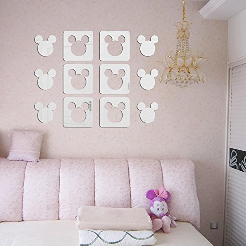 (Square Cut Out Cartoon Mickey Mouse Mirror Stickers Wall Decal For Kindergarten Baby Children's Room Deco,12pcs/lot (Silver))