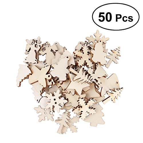 (Tinksky 50PCS Wooden Christmas Tree Snowman Snowflake Unfinished Slices 12 Assorted Patterns Hanging Ornament DIY Arts Crafts For Christmas Decoration)