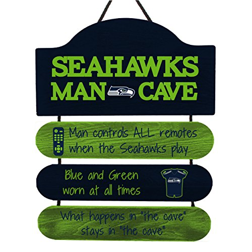 FOCO NFL Seattle Seahawks Team Logo Mancave Man Cave Hanging Wall Sign, Team Color, One Size -