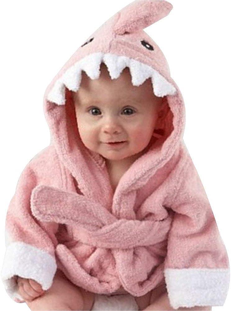 Baby Boys Girls 0-3 Years Bath Towel Shark/Owl Bathrobe Cute Hooded Sleepwear