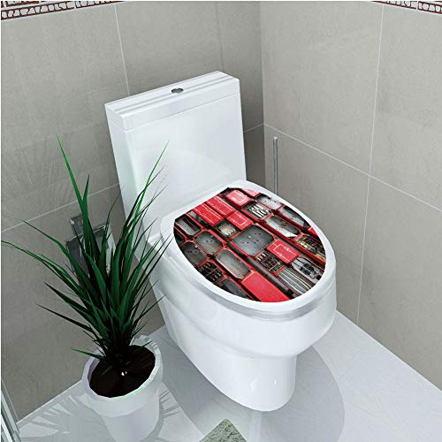 """Toilet Cover Sticker,Industrial Decor,Fuse Cabinet Close Up Industrial Type Junction Cables Box Electricity Decorative,Red White Grey,Custom Sticker,W12.6""""xH14.9"""""""
