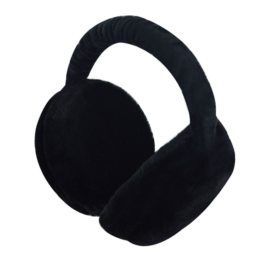 Aisa Women Foldable Winter Earmuffs Faux Fur Hamburger Ear Warmer Unisex Plush Headgear Black