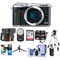 Canon EOS M6 24MP Mirrorless Digital Camera Silver - Bundle With Holster Case, 32GB SDHC Card, Tripod, Memory Wallet, Cleaning Kit, Remote Controller, Card Reader, Table top Tripod, Software Package