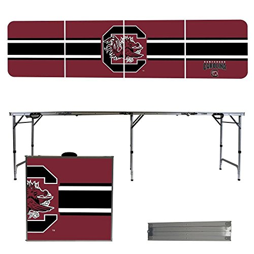 NCAA South Carolina Gamecocks USC Stripe Version 8 Foot Folding Tailgate Table,1234,Multicolored
