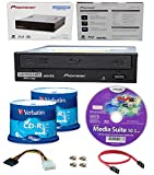 Pioneer 16x BDR-211UBK Internal Ultra HD Blu-ray BDXL Burner, Cyberlink Software and Cable Accessories Bundle with 100pk Recordable CD-R Verbatim 700MB 52X Branded Surface