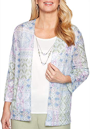 Alfred Dunner Women's South Hampton Patchwork Two for One Top (Petite Large) (Blazer Dunner Alfred)