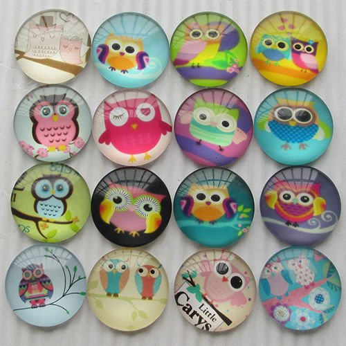 20pcs Round Clear Cabochons Flatbacks Resin Dome Cameos 25mm Owl Resin Dome