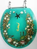 Lady of the Sea Collection - Heavy Duty Toilet Seat - Seahorse and Seashell Design - Standard Size - Aqua