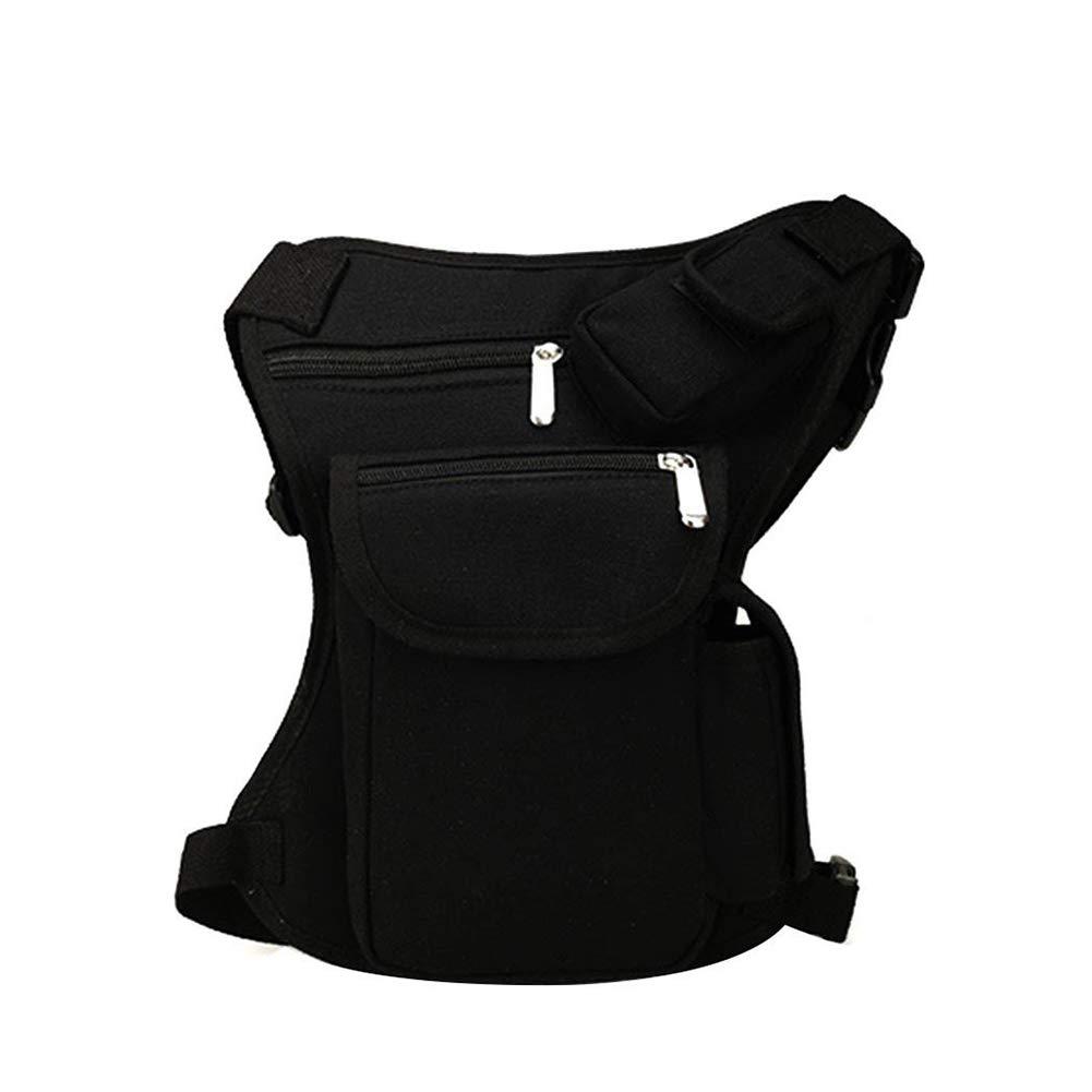 Ndier Los Hombres al Aire Libre Lienzo Drop Cintura Pierna Bolsas Pack cinturón de Running para Bicicleta Motorcycle-Black, Color Negro, tamaño Talla única