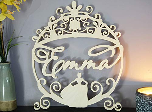 Custom Personalized Large Princess Wooden Name Sign Cursive Adorn Script Letters Hanging Plaque Carved Wall Art Decor for Nursery or Kids Room 18-24 inch