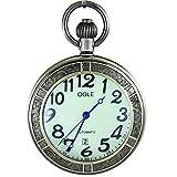 OGLE Waterproof Bronze Magnifier Calendar Date Day Luminous Chain Fob Self Winding Automatic Skeleton Mechanical Pocket Watch