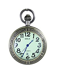 OGLE Waterproof Bronze Magnifier Calendar Luminous Pendant Necklace Chain Fob Self Winding Automatic Skeleton Mechanical Pocket Watch