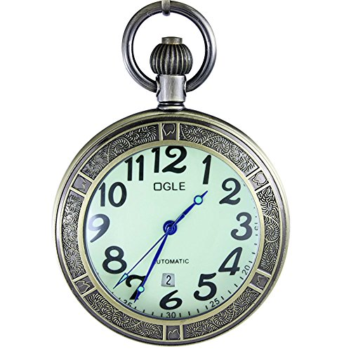 OGLE Waterproof Bronze Magnifier Calendar Date Day Luminous Chain Fob Self Winding Automatic Skeleton Mechanical Pocket Watch (Bronze Luminous)