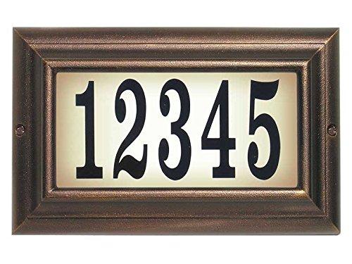 Qualarc LTL-1301-LED-AC-PN Edgewood Rust Free Cast Aluminum Rectangular Lighted Address Plaque with LED & 4'' Black Polymer Numbers, Antique Copper