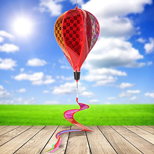 EA-STONE DIY Sequins Hot Air Balloon Windmill,Rainbow Spinning Windmill for Children's Outdoor Toys Home Windowsill Ornament (Wind Generator Rainbow)