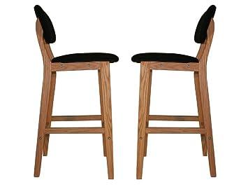 Meubletmoi set di 2 sgabelli da bar neri in legno stile scandinavo
