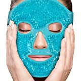 Face Eye Mask Gel Cold Pack – Reduce Puffiness, Bags Under Eyes, Puffy Dark Circles, Migraine - Therapeutic Heat and Ice Compress with Cover - for Sleep, Sinus Pressure, Headaches, Skin Care - Blue