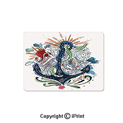Large Gaming Mouse Pad Ornate Ship Anchor with Sun Heart and Sea Lettering Mooring Tourists Naval Summer Art Design Extended Mat Desk Pad Mousepad Non-Slip Rubber Mice Pads 9.8