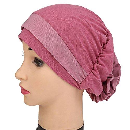 Qingfan Women Ruffle Cancer Chemo Elegant Lace Hat Beanie Scarf Turban Head Wrap Cap (Pink)