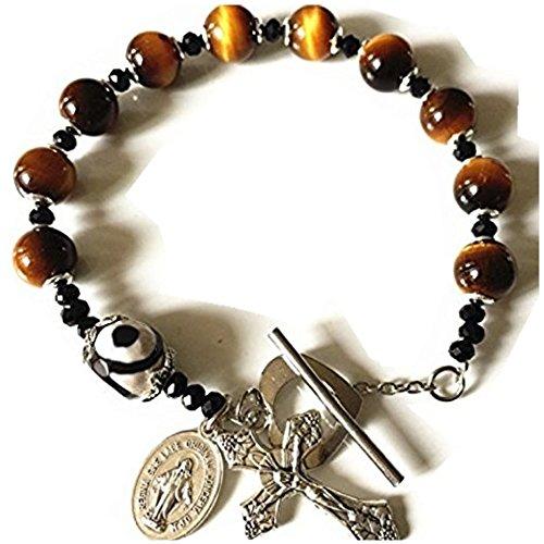 elegantmedical Catholic Rosary Sterling Silver Flower Tiger Eye Beads Bracelet Cross