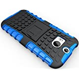 GVC Tough Hybrid Armor Back Cover Case with Kickstand HTC One M8(Satin Blue)