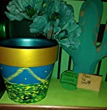 Teal and gold flower pot