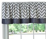 Baby Doll Bedding  Minky Chevron Window Valance, Grey