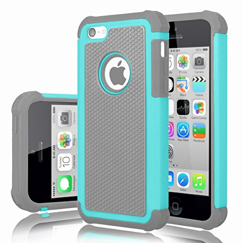 - iPhone 5C Case, iPhone 5C Cover, Jeylly Shock Absorbing Hard Plastic Outer + Rubber Silicone Inner Scratch Defender Bumper Rugged Hard Case Cover For iPhone 5C - Turquoise