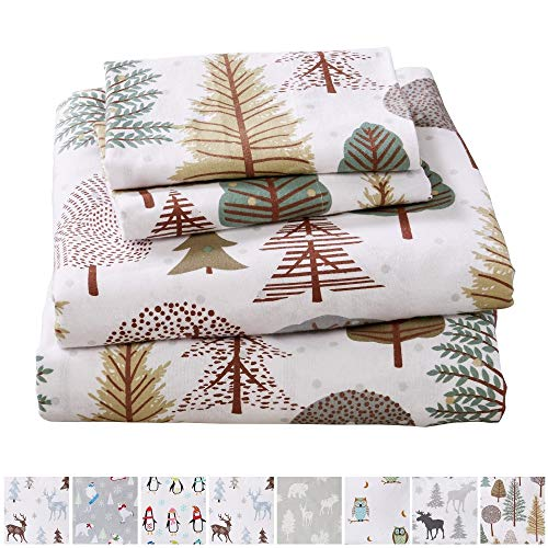 Home Fashion Designs Stratton Collection Extra Soft Printed 100% Turkish Cotton Flannel Sheet Set. Warm, Cozy, Lightweight, Luxury Winter Bed Sheets Brand. (King, Snowy Forest) (Flannel Sheet Collection)