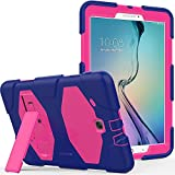 Galaxy Tab E 9.6 Case, Kickstand - Shockproof Heavy Duty Three Layer Kids Case Cover for Tab E/Tab E Nook 9.6-Inch Tablet (SM-T560/T561/T565 & SM-T567V Verizon 4G LTE Version) - Purple Pink