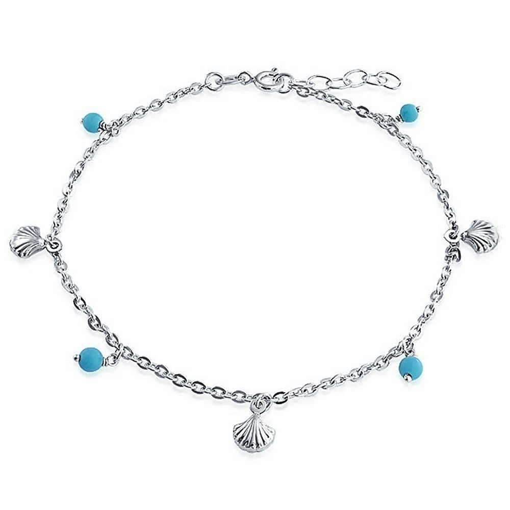 Charme Multi nautique Seashell aqua bleu double Dangle Bracelet Gourmette en Argent Sterling 9-10' Bling Jewelry SRN-DJ91753A