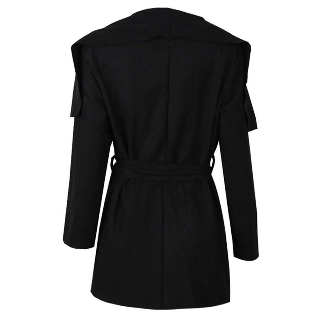 XWDA Womens Winter Lapel Long Sleeve Jacket Woolen Trench Coat Outwear with Belt by XWDA (Image #2)