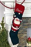 Christmas Stocking Personalized Hand Knit Santa Snowball Stocking