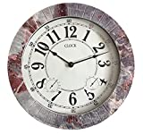 Backyard Expressions 914933 Indoor/Outdoor Clock, Gray, Black, Red