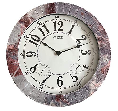 Backyard Expressions 914933 Indoor/Outdoor Clock, Gray, Black, Red by Backyard Expressions