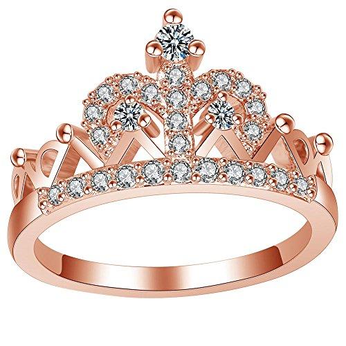 LWJYX Women's Rose Gold Wedding Engagement Round Crystal Ring for Bridal Princess Crown Tiara Anniversary Band Size 7 (Crown Ring Crystal)