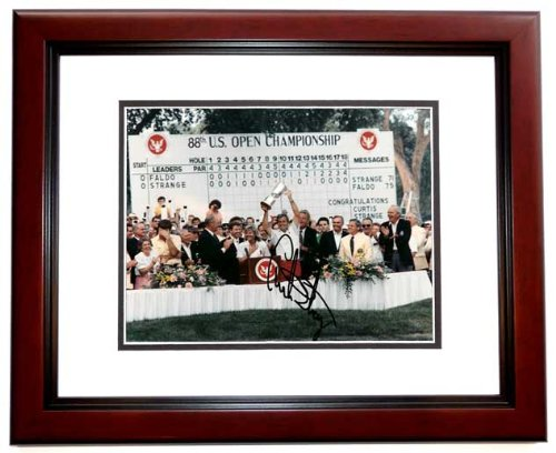 - Curtis Strange Signed - Autographed Golf 8x10 inch Photo MAHOGANY CUSTOM FRAME