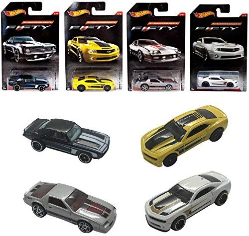 (Set of 4 Hot Wheel Camaro Exclusive Fifty Edition Collectors Anniversary Die-Cast Vehicles 1:64 Scale Gift Pack Collectible)